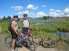 Steve and Cindy Jones enjoy the wetlands pond next to the North Valley Rail-Trail.